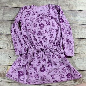 Lands end dress with dog print purple 6x-7